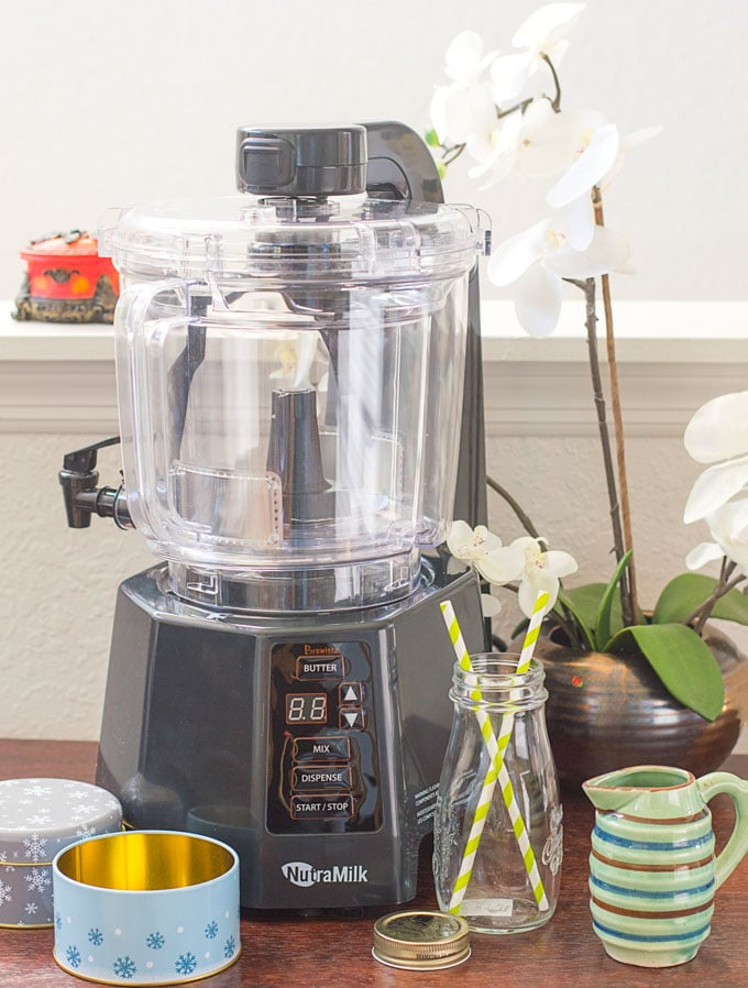 The NutraMilk Machine Surrounded by Small Milk Bottle, Small Green Jar and Small Holiday Containers. A Lily Plant is in the Background - Matcha Hazelnut Butter