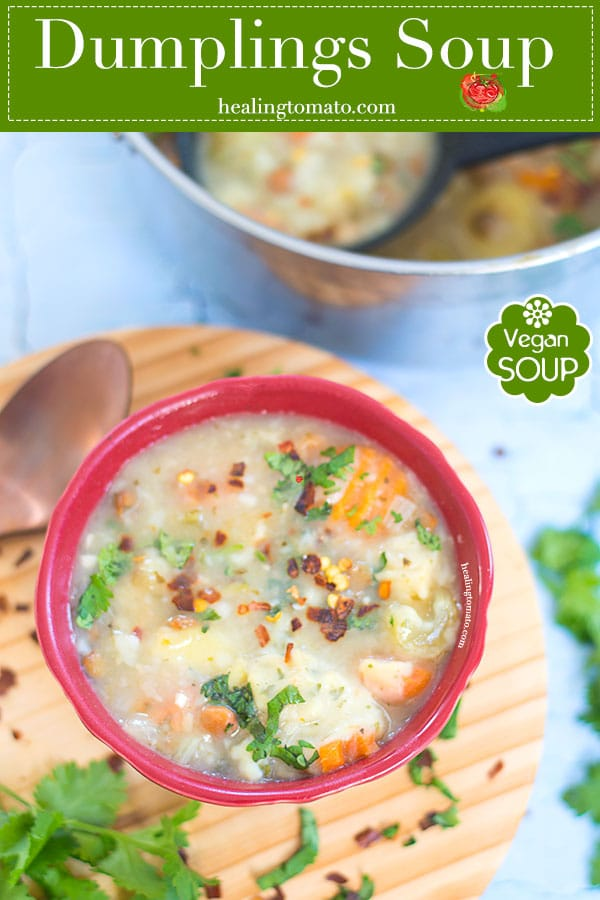 An Easy Dumplings Soup With Pigeon Peas, Cannellini Beans, Carrots, Celery and Potatoes. This is the Perfect Winter Soup to Chase Away a Frosty Nose. Flavor the soup with simple spices. Making the dumplings is super easy for anyone to make. | Winter Soups, easy soups, vegan soups, hot soups, #vegan #soups #winter #soups #easysoups #veggies