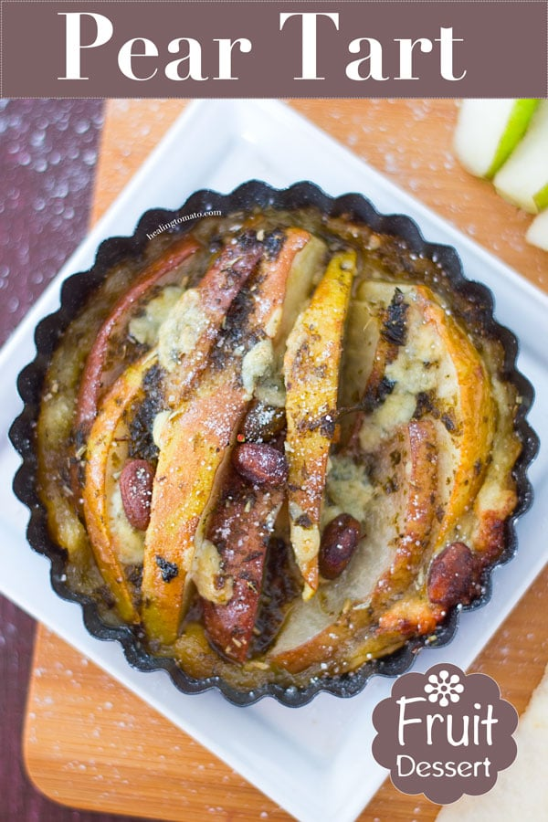 A Simple Pear Tart with Gorgonzola Cheese is the Perfect Holiday Dessert or Christmas Brunch Recipe. I Used Juicy Red Anjou Pears and Green Bartlett Pears to Provide The Red and Green Holiday Colors. Blue Gorgonzola Adds a Delicious Tart Flavor and its Ready in Less than 30 Minutes