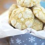 Closeup view of vegan crinkle cookies in a tin