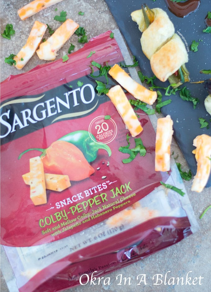 Front View of Sargento Snack Bites Cheese Packet Surrounded by the Cheese - Okra in a blanket