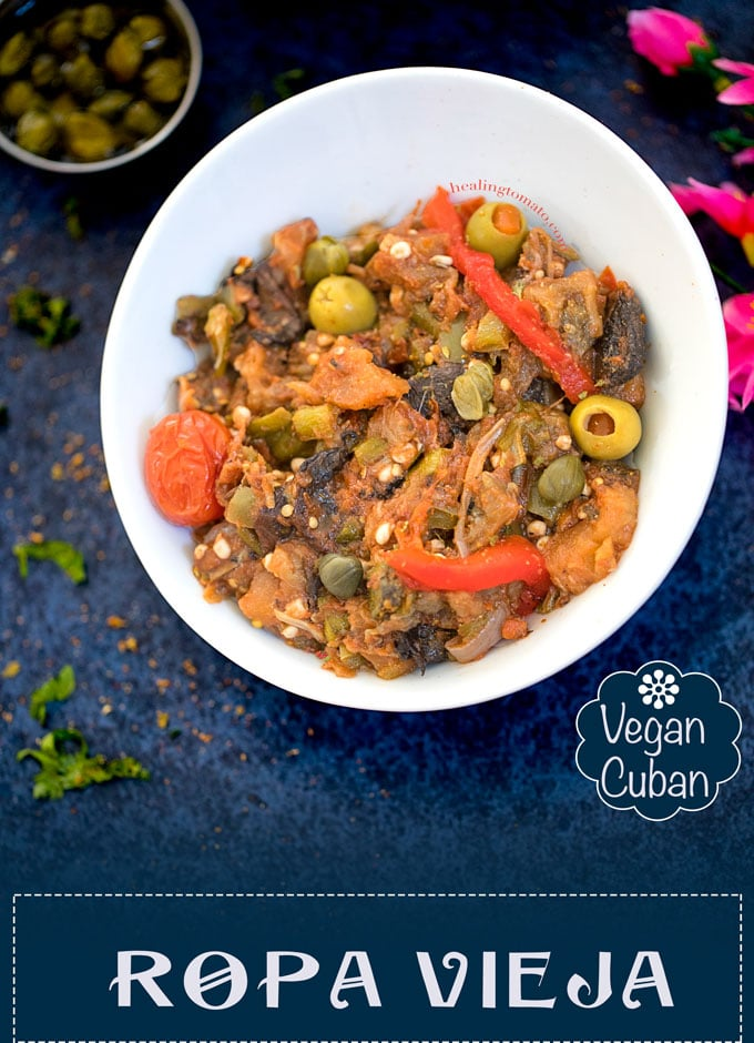 Vegan Ropa Vieja Made with eggplant, okra and other fresh veggies. I took the Cuban Classic recipe and made a vegan version of it. #vegan #cuban #classic #recipe #ropavieja #oldclothes #dinner #vegandinner #comfortfood #farmersmarket #healthy #vegetables #freshveggies
