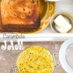 Overhead View of A Jar With Star Fruit Carambola Jam in an Open Mason Jar. A White Tray with Toast and a side of butter