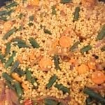 Overhead view of barley pilaf completed cooking