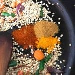 Spices added to the pan