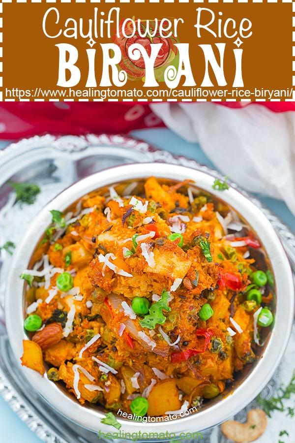 How to make Cauliflower rice biryani? This vegan biryani version is made using cauliflower rice. Its a healthy cauliflower rice biryani made with Indian seasoning. Vegan Dinner recipes #healingtomato #cauliflowerrice #biryani #vegan #veganrecipes #indianfood #indianrecipes #healthy #howto #comfortfood #biryanirecipes #veganfood https://www.healingtomato.com/cauliflower-rice-biryani