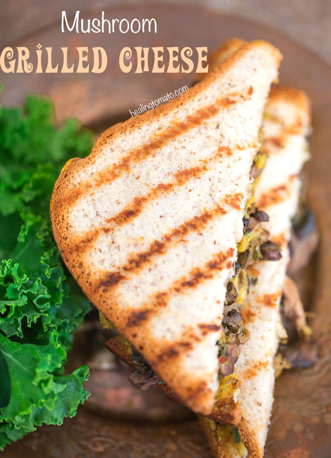 Overhead view of Mushroom Grilled Cheese sandwich with char marks