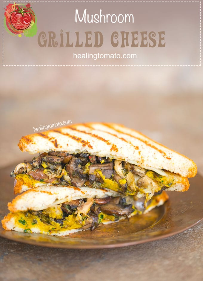 A simple Grilled Cheese Sandwich made with UDI's® Gluten Free Multigrain Bread. This sandwich has a layer of homemade spicy kale hummus with a medley of roasted mushrooms in the middle. I added a thin slice of pepper jack cheese for the perfect hearty lunch recipe #ad #udisglutenfree #vegetarian #comfortfood #grilledcheese #sandwich #recipes #mushrooms #spicy