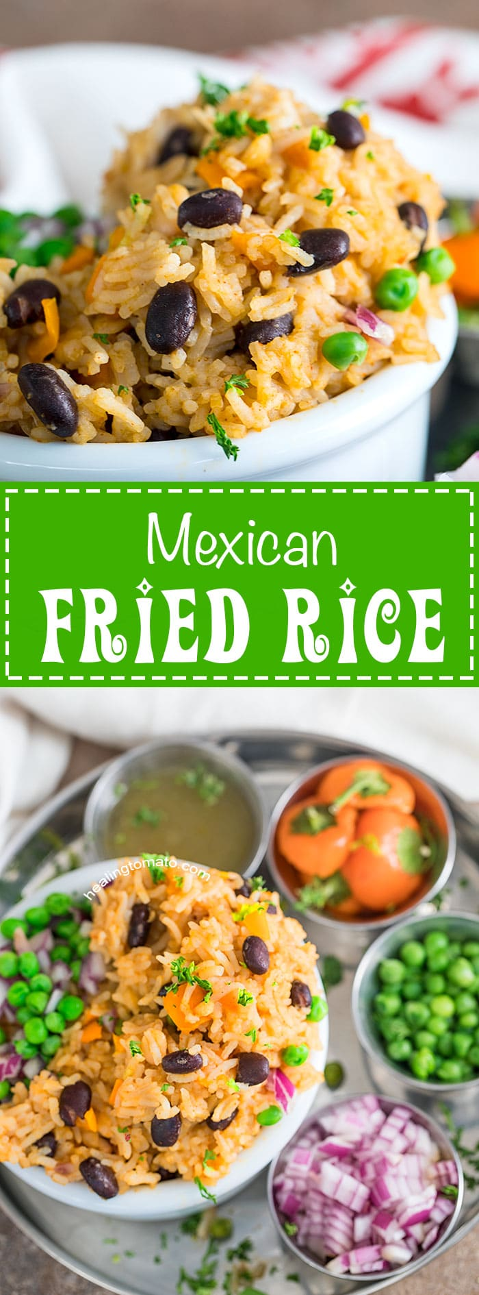 This quick and easy vegan Mexican fried rice is so delicious and filling. Its my take on the traditional Mexican rice that you get in restaurants. I used peas instead of corn because I love how delicious it tastes with rice. Eat it for lunch, side dish and part of a meal prep recipe. #vegan #mexican #rice #cincodemayo #vegetarian #comfortfood #healthy #dinner #familymeals