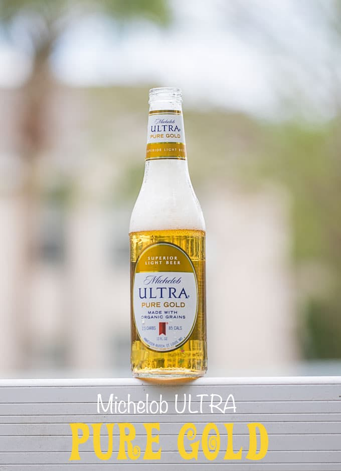 Closeup view of Michelob ULTRA Pure Gold Beer Opened with fizz - Beer Pretzel Bites