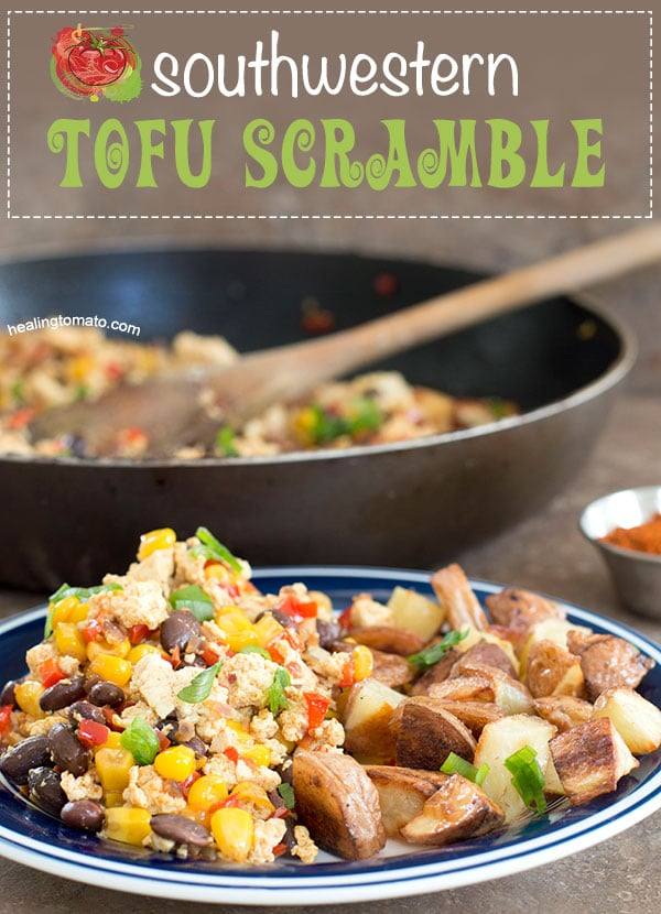 Front view of a plate with southwest tofu scramble and a side of roasted potatoes - Sofrito