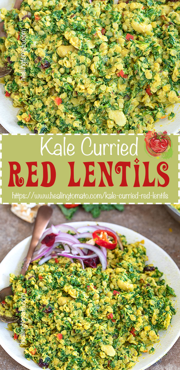 Coconut Kale Curried Red Lentils Recipe is vegan, gluten free and healthy. Its perfect make-ahead recipe, so, use it as part of your meal-prep recipe. Its freezer friendly too. I show you how to cook red lentils and the best way to massage kale. #curry #kale #healthy #mealprep #healthy #freezerfriendly #healthy #vegan #vegetarian #coconutmilk #howto
