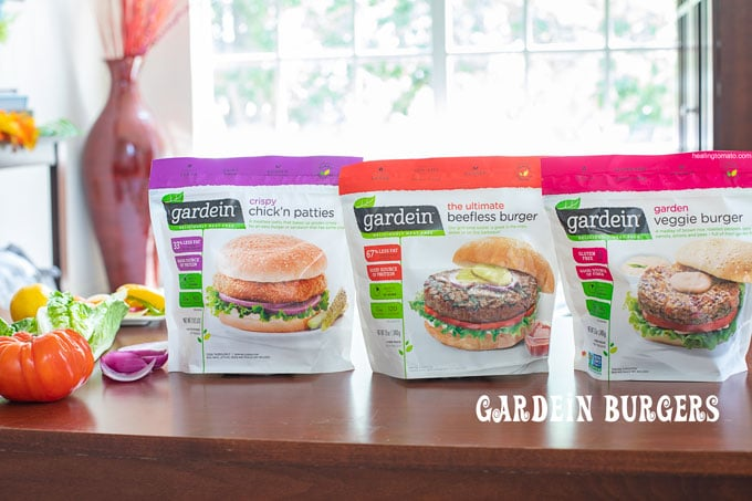 Front view of 3 packets of different flavors of Gardein Burgers - Chickn and Waffle Burgers