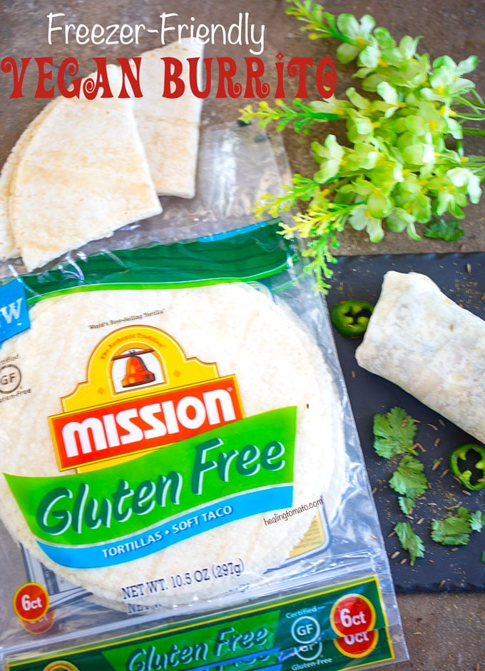 Overhead view of Mission Gluten Free Tortillas in their original packaging with a Vegan Burrito on the side
