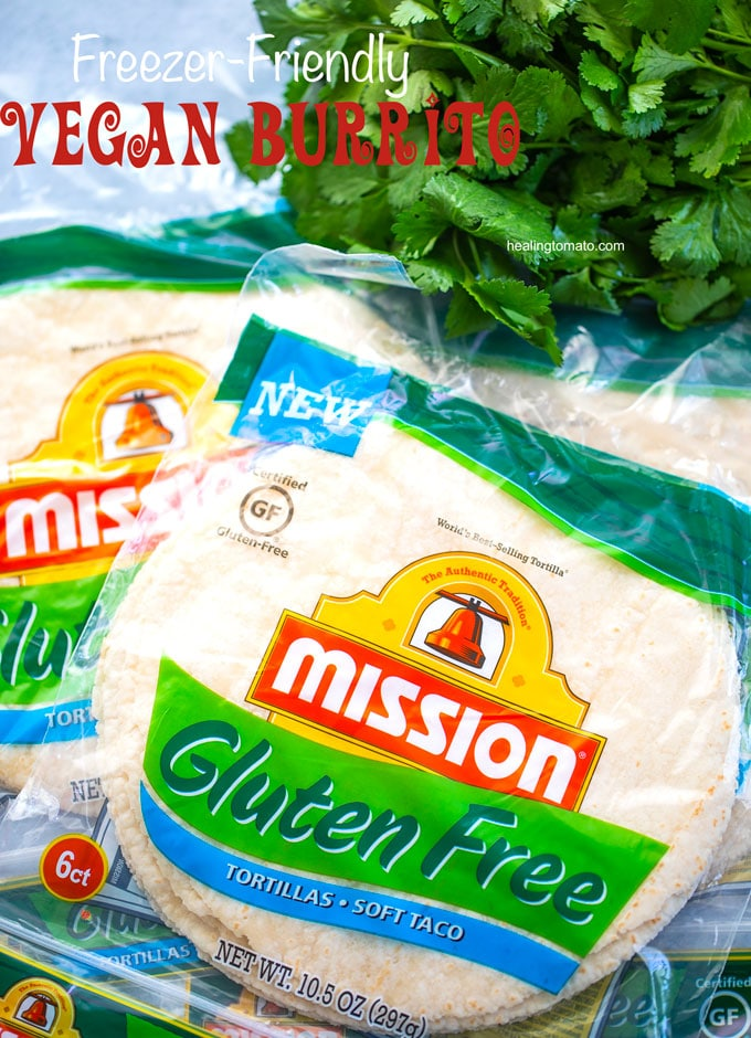 Overhead view of Mission Gluten Free Tortillas in their original packaging - Vegan Burrito