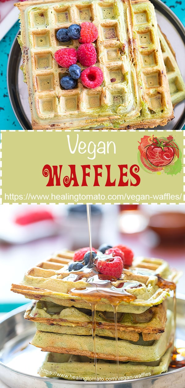 Easy, Light and fluffy vegan waffles recipe made with kale and fresh raspberries. These homemade waffles are made from scratch | Vegan Brunch, vegan breakfast, easy waffle recipes, low carb vegan waffles, healthy waffles, how to make vegan waffles at home #vegan #waffles #brunch #kale #recipes #healthy #veganwaffles #healthywaffles