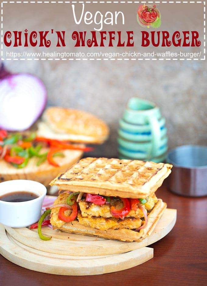 Vegan Chickn and Waffles Burger is exactly what vegans need for the grilling season. Grill peppers and onions before topping it on waffles along with crispy chick'n tenders #ad #gardein #burgers #healingtomato