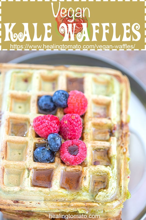 Homemade Easy, Light and fluffy vegan waffles recipe made with kale and fresh raspberries. #healingtomato #waffles https://www.healingtomato.com/vegan-waffles/