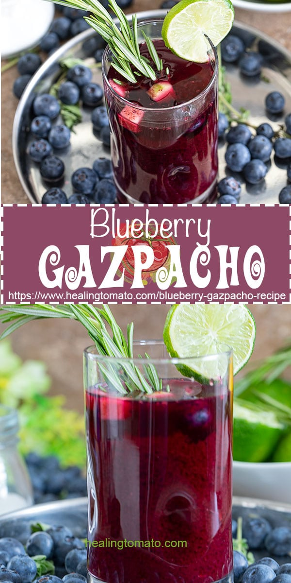 5 Minute Easy Blueberry Gazpacho soup. Healthy Blueberry Gazpacho recipe with cucumber. The best Vegan blueberry gazpacho soup, summer cold soups, #vegan #veganrecipes #gazpacho #blueberries #blueberry #coldsoups #summersoups #summer https://www.healingtomato.com/blueberry-gazpacho-recipe