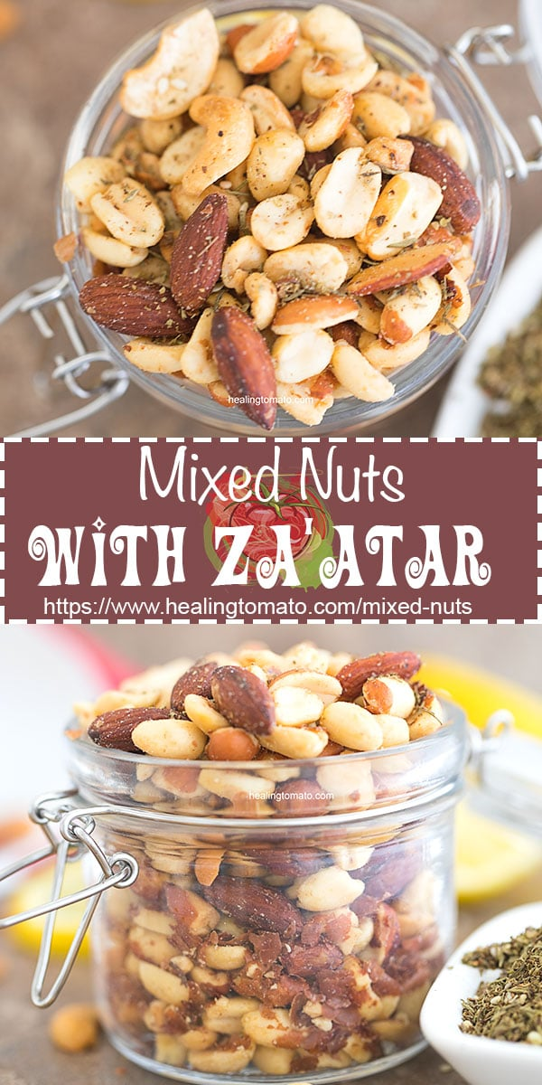 An easy mixed nuts recipe for vegans. Mixed nuts snacks for movie night or for a healthy snack idea. I used raw mixed nuts in this recipe and seasoned it with za'atar spice #mixednuts #zaatar #vegan #veganrecipes #snacks #healthy #cashews #almonds