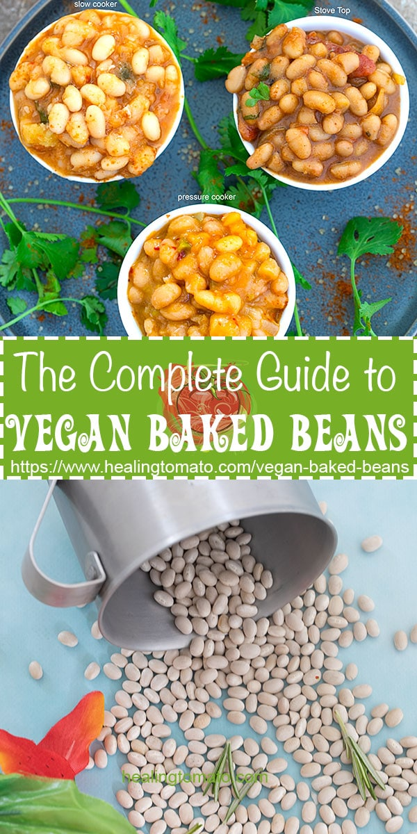 Easy Baked Beans Recipe | Vegan Baked Beans | Baked Beans made in the Crock Pot, pressure cooker baked beans, stove top baked beans, slow cooker baked beans #vegan #vegetarian #comfortfood #bbq #vegetarian #recipes