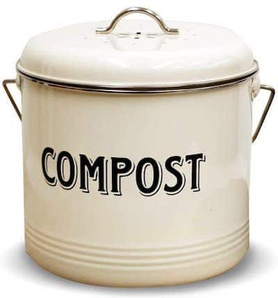 "Front view of a compost bin with the word ""COMPOST"" written in front of the bin - How to cut cabbage"