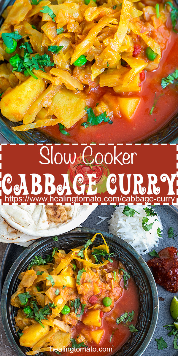 Cabbage Curry - Slow Cooker Indian Cabbage Curry recipe with potatoes and peas. This vegan cabbage curry is so easy to make and very delicious. Made with fresh vegetables and its effortless. Easy curry recipes, Vegan curry recipes, slow cooker curry recipe, vegan comfort food, vegan family meals. #vegan #veganrecipes #cabbage #curry #comfortfood #slowcooker #crockpot #indianfood #indianrecipes #meatlessmonday