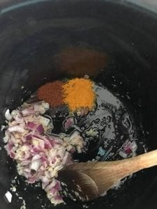 turmeric powder and red chili powder added to the base of the slow cooker - Cabbage Curry