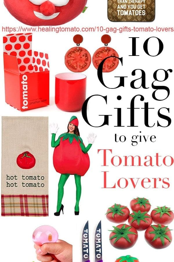 Funny gag gifts for tomato lovers! These gag gifts are perfect for Christmas, stocking stuffers, Halloween and a birthday gift. Gag gift ideas, useful gag gifts, tomato Halloween costume, #giftguide #gaggifts #gift #tomato #presents #tomatoes #halloween #stockingstuffers #halloweencostumes, https://www.healingtomato.com/10-gag-gifts-tomato-lovers/ 10 Gag gifts
