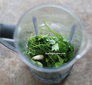 Garlic cloves inside the blender with cilantro - Pressure Cooker Corn on the Cob