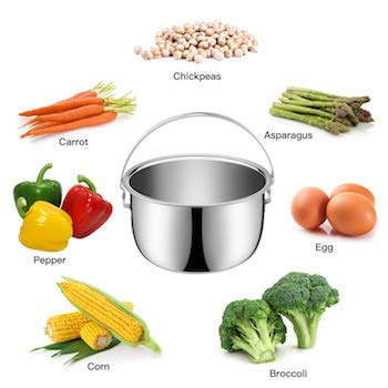 Illustration of a stainless steel pressure cooker basket surrounded by vegetables and beans - Pressure Cooker Corn on the Cob