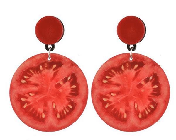 A pair of earrings shaped like tomato slices 10 Gag Gifts to Give Tomato Lovers