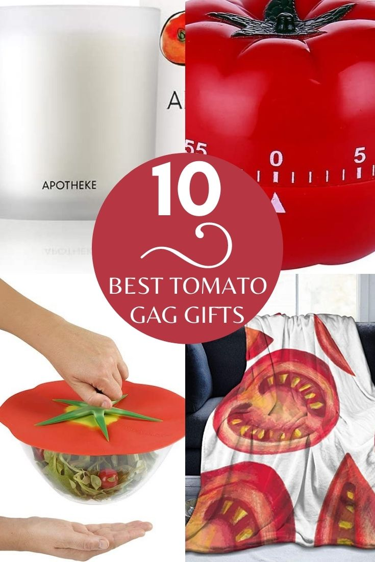 """a collage of 4 tomato gift images with the words """"10 Best Gag Gifts"""" writtien on it"""