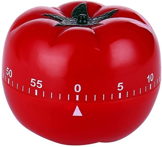 Front view of a tomato shaped timer