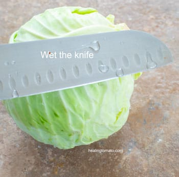 Wet knife over a cabbage head - Cabbage Curry