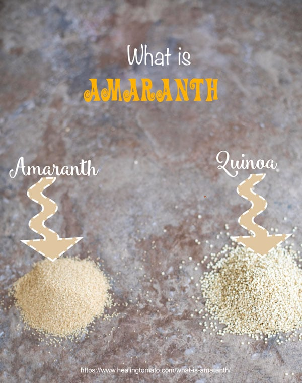 One tiny mound of amaranth grain on the left and a tiny mound of quinoa on the right for comparison