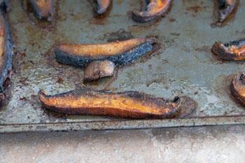 Roasted portobello mushrooms on baking tray - Vegan Taquitos