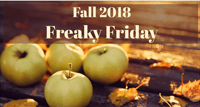 "Banner for ""Fall Freaky Friday"" shown with green apples and autumn leaves - Greek Dipping Oil"