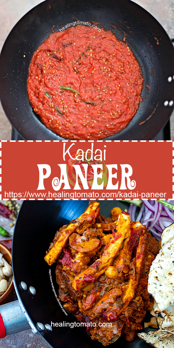 Not-quite dhaba style Indian Kadai Paneer. Indian restaurant food made at home! Paneer strips in a rich tomato sauce with coriander seeds and cashews #healingtomato #kadai #kadaipaneer #paneer #indianfood #vegetarian #recipes #vegetarianrecipes #indianrestaurant #homemade #comfortfood #appetizers #maincourse #meals