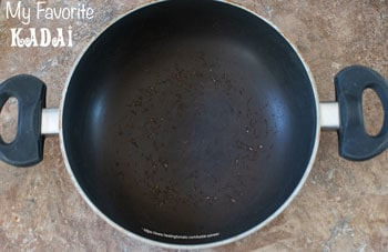 Overhead view of the author's kadai pan. - Kadai Paneer