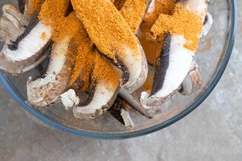 mushrooms with taco seasoning in bowl - Vegan Taquitos