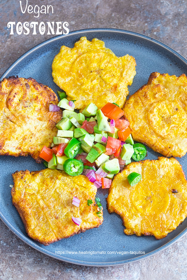 Overhead view of Tostones on a plate with avocado salsa in the middle - Vegan Toquitos