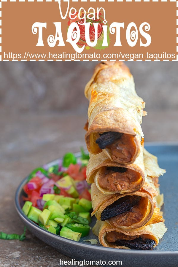 Quick and easy baked vegan taquitos that are really easy to make and take zero effort. Make them for school lunch or an easy after school snack #ad #healingtomato #healthy #vegan #veganrecipes #backtoschool #afterschool #snacks #kidfriendly #mexicanrecipes #lunch #recipes #homemade https://www.healingtomato.com/vegan-taquitos
