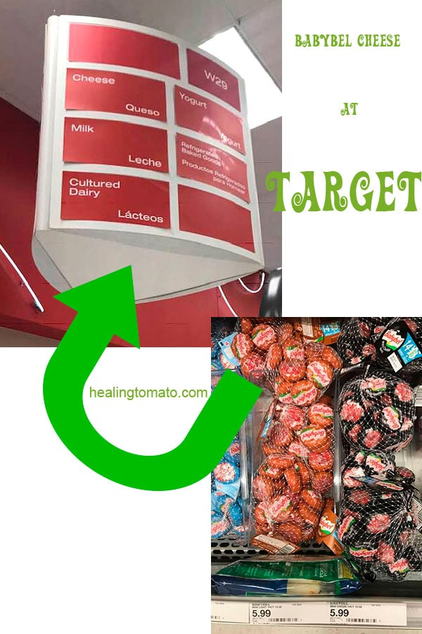 Overhead view of the section at target where the babybel is located. Three types of babybel cheese types are visibel - Babybel Strudel Recipe