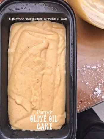 Cake batter poured into the oiled bread pan - Vegan Pumpkin Olive Oil Cake