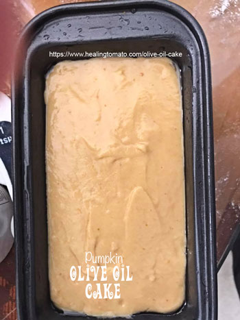 Cake batter in the bread pan; flattened and top surfaced smoothed - Vegan Pumpkin Olive Oil Cake