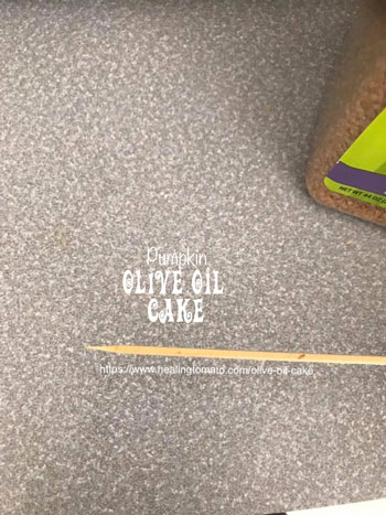 Clean toothpick that was pulled out of the cake pan - Vegan Pumpkin Olive Oil Cake