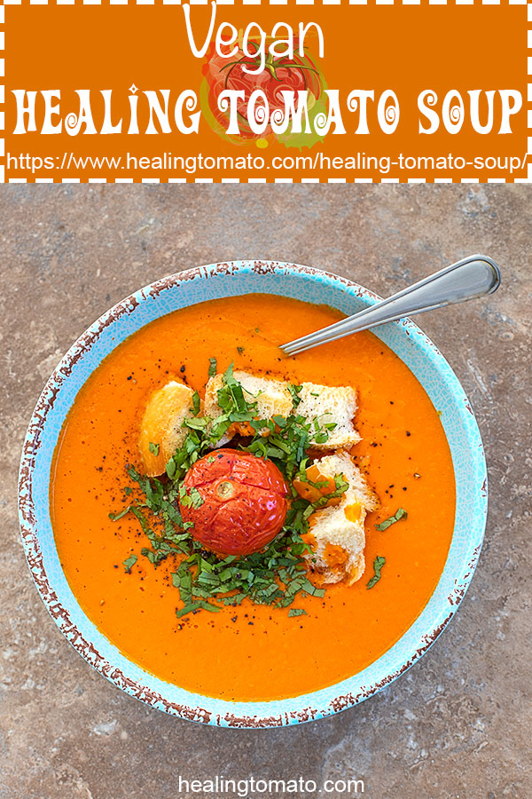 Easy, healthy, homemade vegan tomato soup made with campari tomatoes and roasted red peppers #healingtomato #vegan