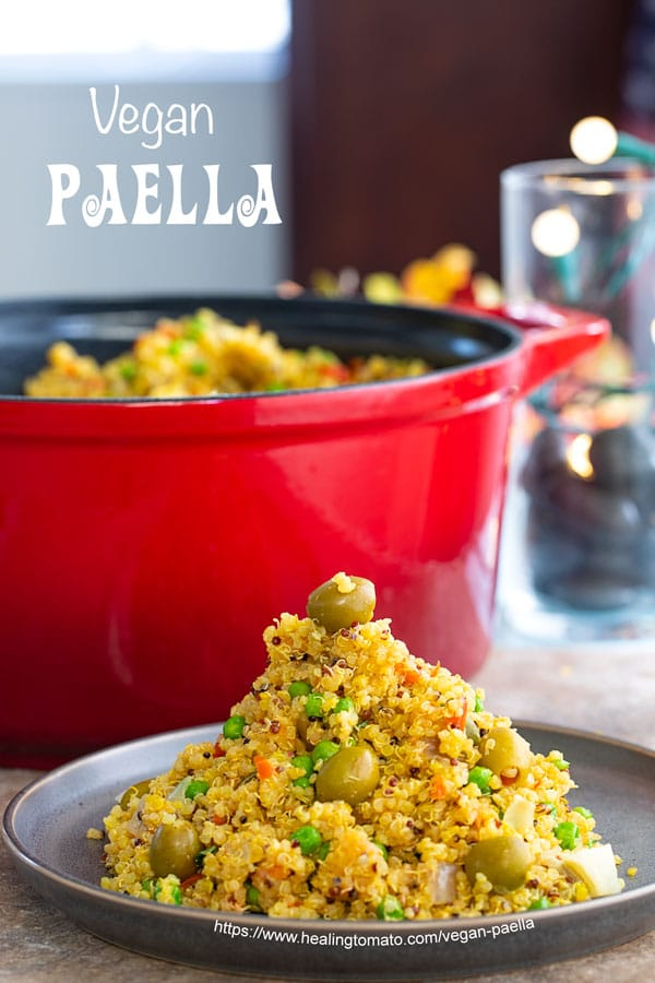 Front View of Vegan Paella arranged as a cone on a grey plate