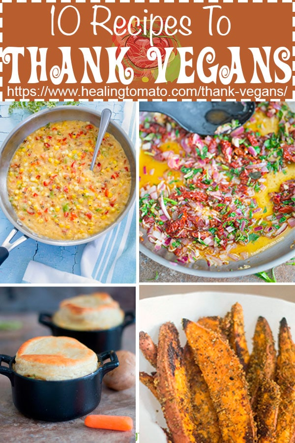 A collage of 4 recipe images - Thank Vegan